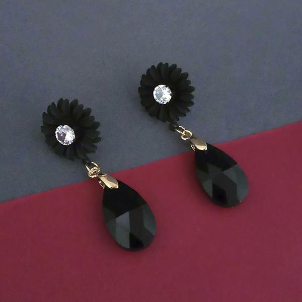 Urthn Black Floral Gold Plated Dangler Earrings - 1315715E