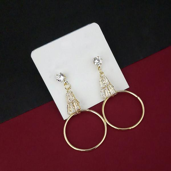 Urthn Gold Plated AD Stone Heart Dangler Earrings - 1315862A