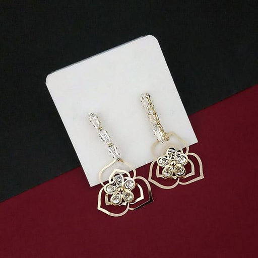 Urthn AD Stone Floral Design Gold Plated Dangler Earrings - 1315867A