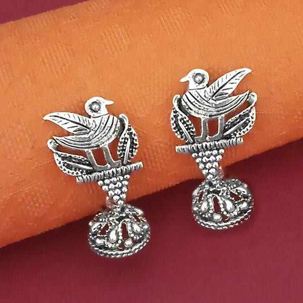 Jeweljunk Bird Design Oxidised Plated Jhumki Earrings - 1316001