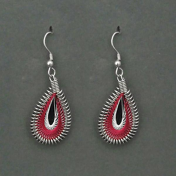 Jeweljunk  Rhodium Plated Red Thread Dangler Earrings - 1316101A