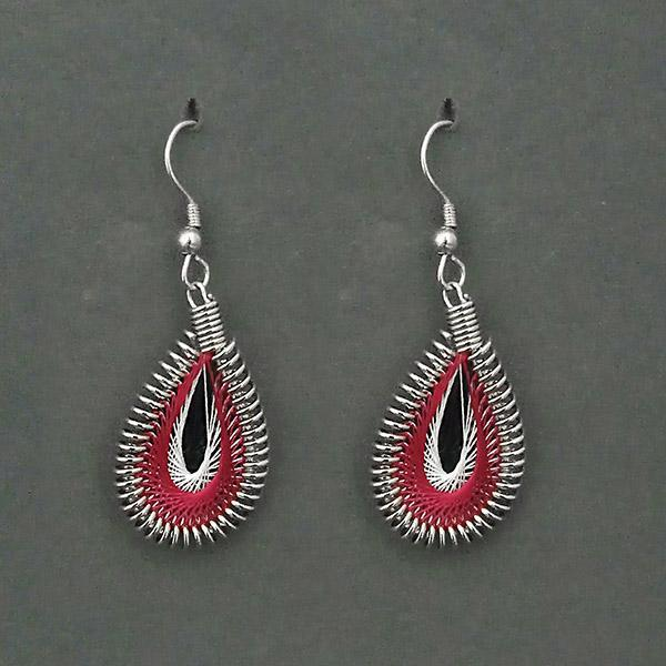 Jeweljunk  Rhodium Plated Red Thread Dangler Earrings - 1316101A - N1316101A