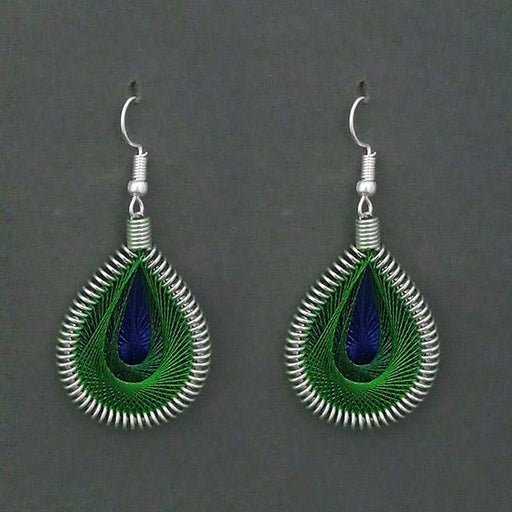 Jeweljunk Rhodium Plated Green Thread Dangler Earrings - 1316103