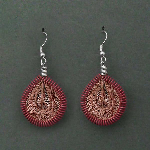 Jeweljunk Rhodium Plated Brown Thread Dangler Earrings - 1316104D