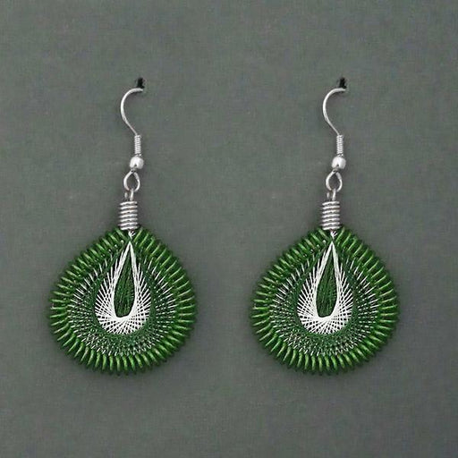 Jeweljunk Rhodium Plated Green  Thread Dangler Earrings - 1316104E