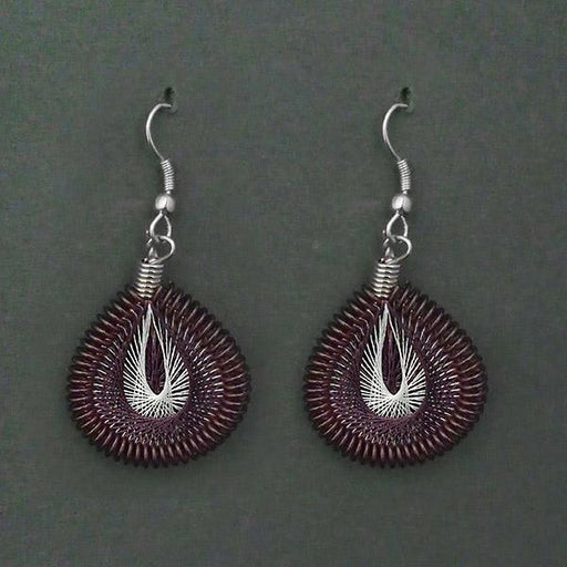 Jeweljunk Rhodium Plated Purple Thread Dangler Earrings - 1316104G