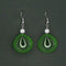 Jeweljunk Rhodium Plated Green Thread Dangler Earrings - 1316108K