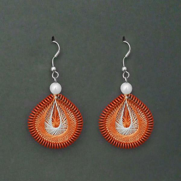 Jeweljunk Rhodium Plated Orange Thread Dangler Earrings - 1316108L