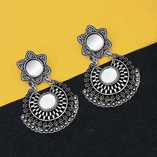 Jeweljunk Oxidised Plated Mirror Dangler Earrings - 1316202B