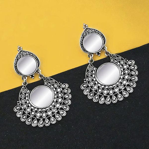 Jeweljunk Oxidised Plated Mirror Dangler Earrings - 1316207B