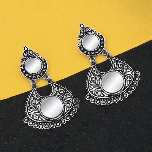 Jeweljunk Oxidised Plated Mirror Dangler Earrings - 1316208B