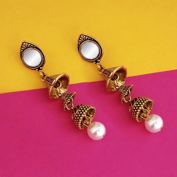 Jeweljunk Antique Gold Plated Mirror Jhumki Earrings - 1316214A