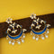 Shreeji Blue Meenakari Kundan And Pearl Dangler Earrings