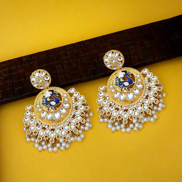 Native Haat Blue Meenakari Kundan And Pearl Peacock Dangler Earrings N1316312A
