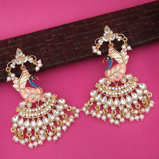 Shreeji Green Meenakari Kundan And Pearl Peacock Dangler Earrings
