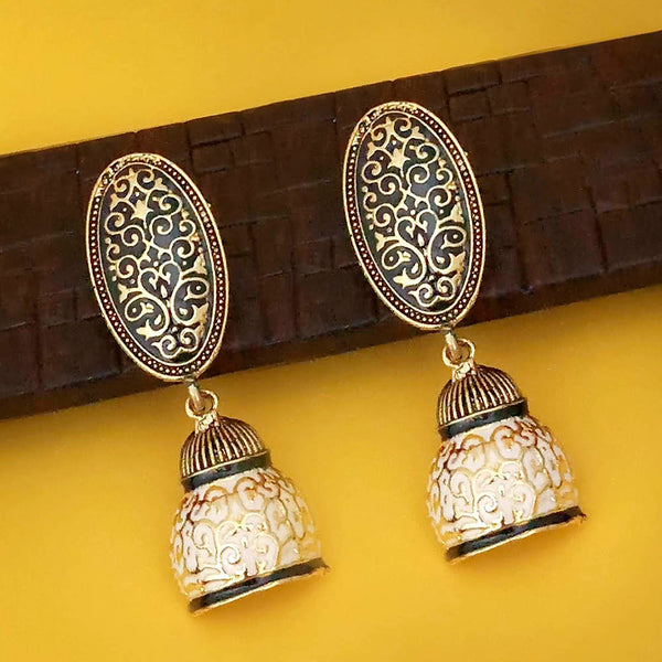 Shreeji Black Meenakari Dangler Earrings
