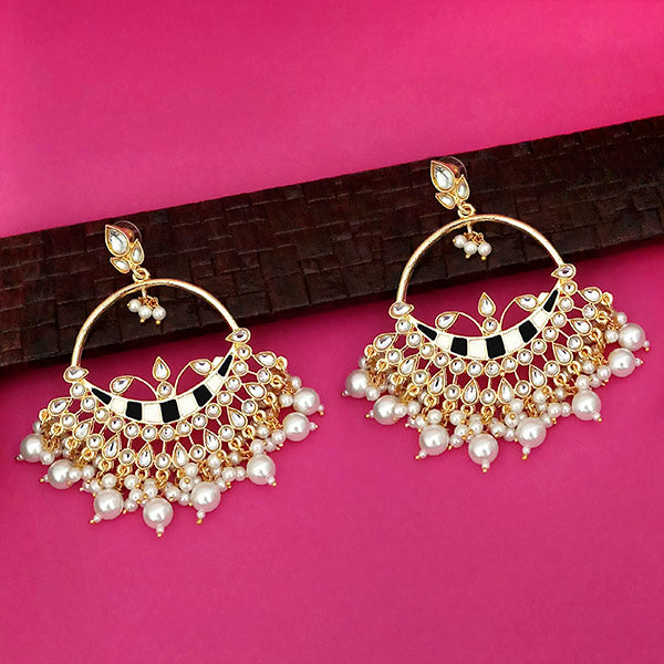 Shreeji Black Meenakari Kundan And Pearl Dangler Earrings