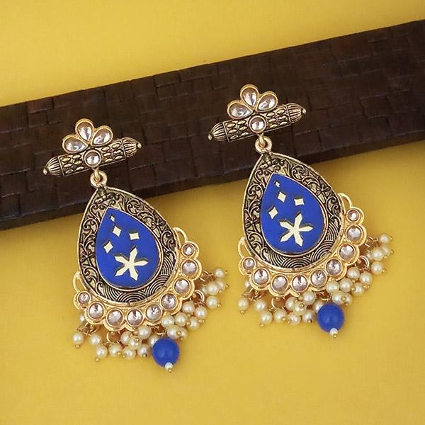 Shreeji Gold Plated Blue Meenakari Kundan Dangler Earrings - 1316337A