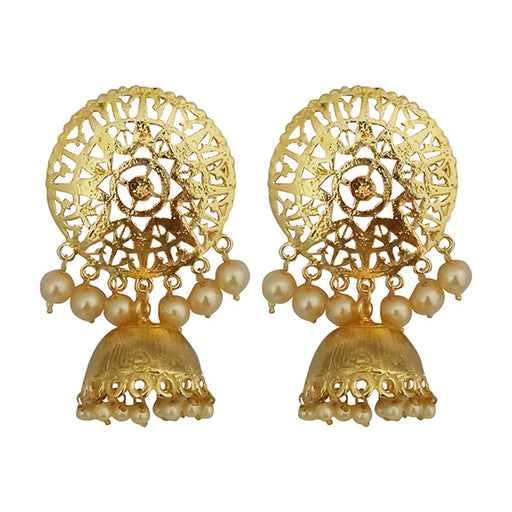 Shreeji Gold Plated Pearl Jhumki Earrings