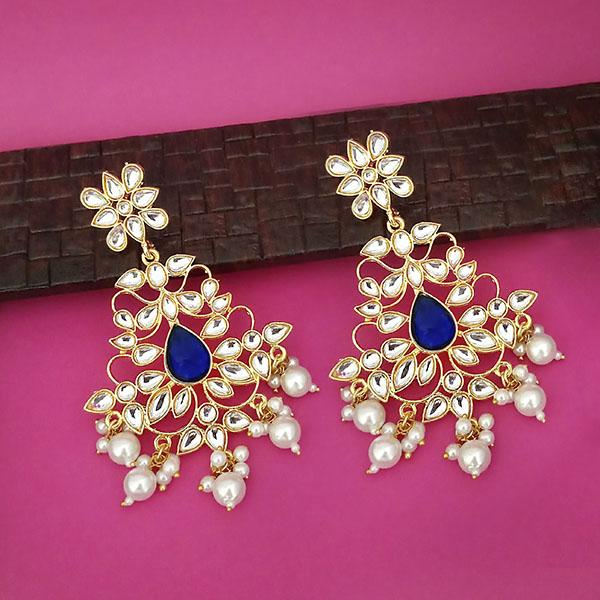 Shreeji Gold Plated Kundan Pearl Drop Dangler Earrings - 1316345F