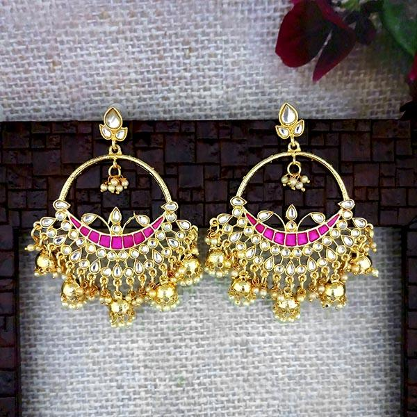 Shreeji Pink Meenakari Kundan And Pearl Dangler Earrings - 1316346B