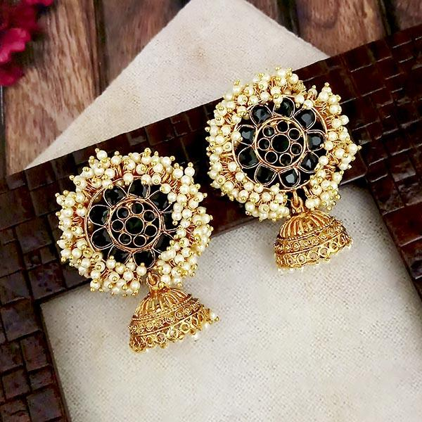 Shreeji Pink Meenakari And Kundan Gold Plated Jhumki Earrings - 1316348A