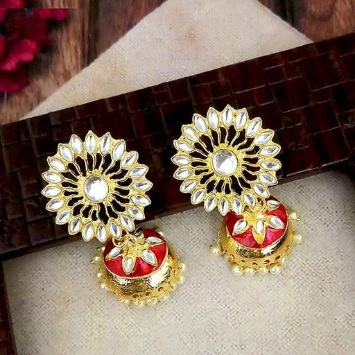 Shreeji Red Meenakari And Kundan Gold Plated Jhumki Earrings - 1316348F