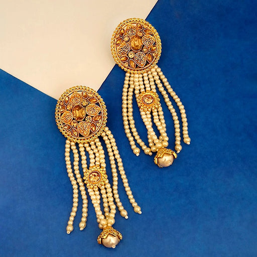 Kriaa Brown Austrian Stone Gold Plated Pearl Dangler Earrings