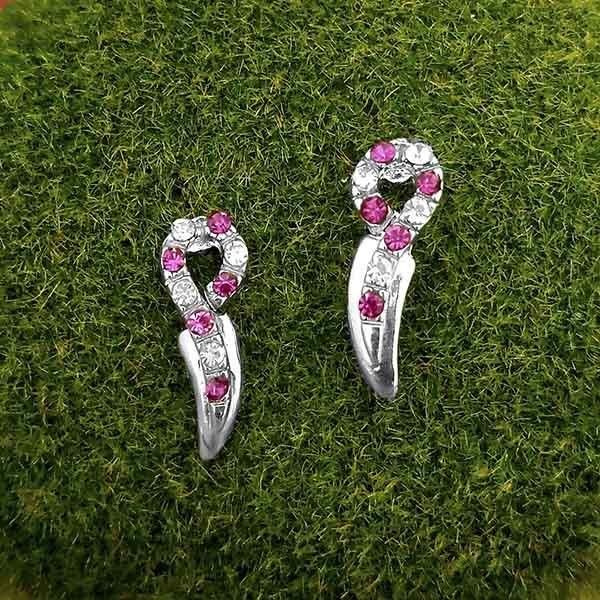 Kriaa Pink Austrian Stone Silver Plated Stud Earrings - 1316668A