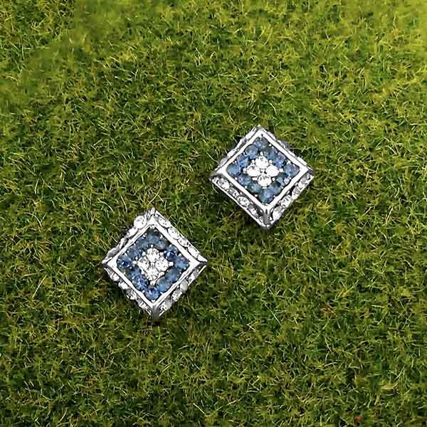 Kriaa Blue Austrian Stone Silver Plated Stud Earrings - 1316682E