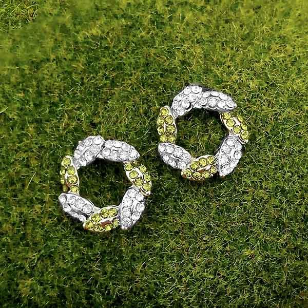 Kriaa Green Austrian Stone Silver Plated Stud Earrings - 1316683C