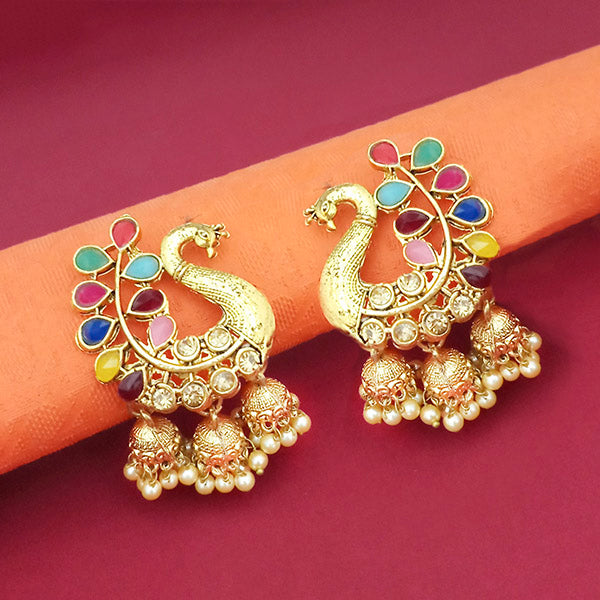 Kriaa Gold Plated Multi Color Stone Peacock Jhumki earrings - 1316916