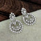 Kriaa Silver Plated White Austrian Stone Dangler earrings -1317024B