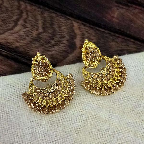 Kriaa Gold Plated Brown Austrian Stone Dangler earrings -1317026A
