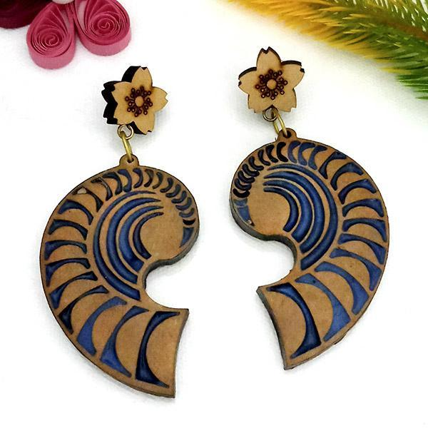 Native Haat Blue Wood Dangler Earrings  - N1317223