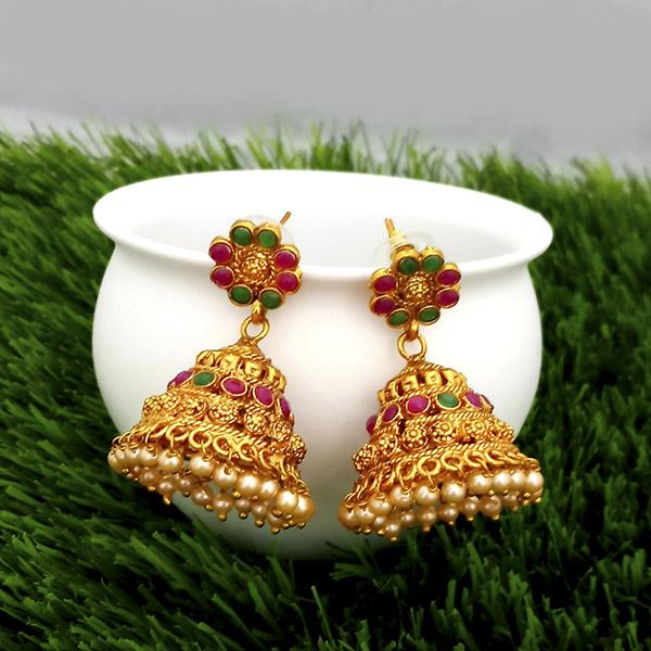 Kriaa Maroon And Green Pota Stone Gold Plated Jhumkas Earrings - 1317302