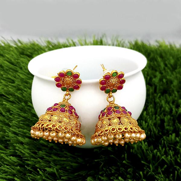 Kriaa Maroon And Green Pota Stone Gold Plated Jhumkas Earrings - 1317303