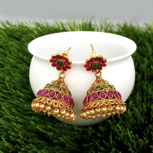 Kriaa Maroon And Green Pota Stone Gold Plated Jhumkas Earrings - 1317305