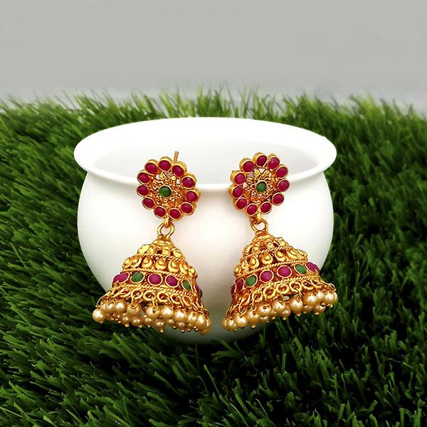 Kriaa Maroon And Green Pota Stone Gold Plated Jhumkas Earrings - 1317306