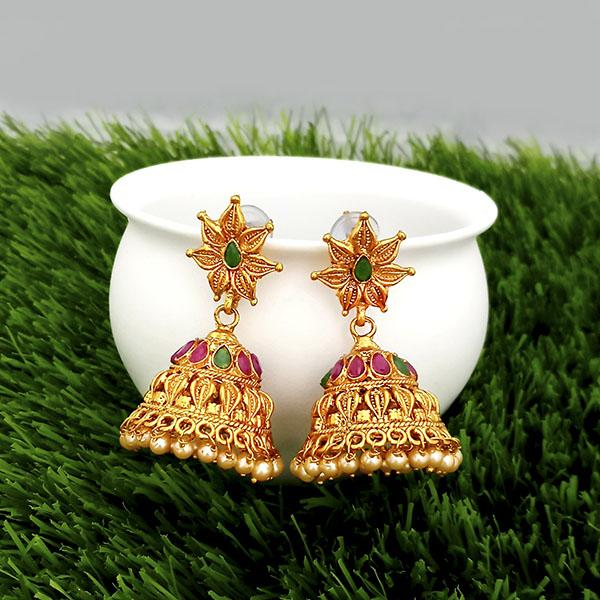 Kriaa Maroon And Green Pota Stone Gold Plated Jhumkas Earrings - 1317308