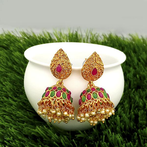 Kriaa Maroon And Green Pota Stone Gold Plated Jhumkas Earrings - 1317309