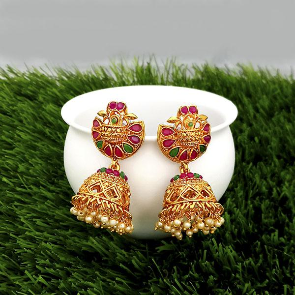 Kriaa Maroon And Green Pota Stone Gold Plated Jhumkas Earrings - 1317310
