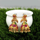 Kriaa Maroon And Green Pota Stone Gold Plated Jhumkas Earrings - 1317312