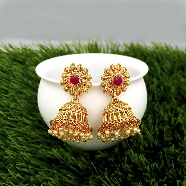 Kriaa Maroon Pota Stone Gold Plated Jhumkas Earrings - 1317314