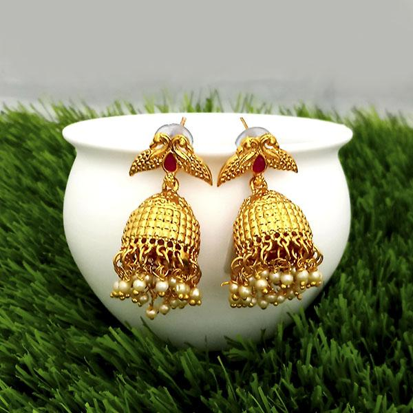 Kriaa Maroon Pota Stone Gold Plated Jhumkas Earrings - 1317315