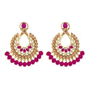 Kriaa Gold Plated Pink Dangler Earrings - 1317602D