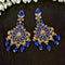 Kriaa Gold Plated Blue Dangler Earrings - 1317603E
