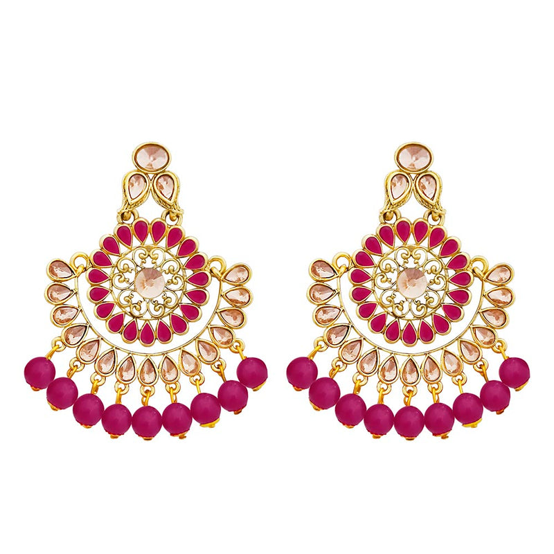 Kriaa Gold Plated Pink Dangler Earrings - 1317604D