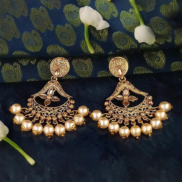 Kriaa Gold Plated Brown Austrian Stone Dangler Earrings - 1317626A
