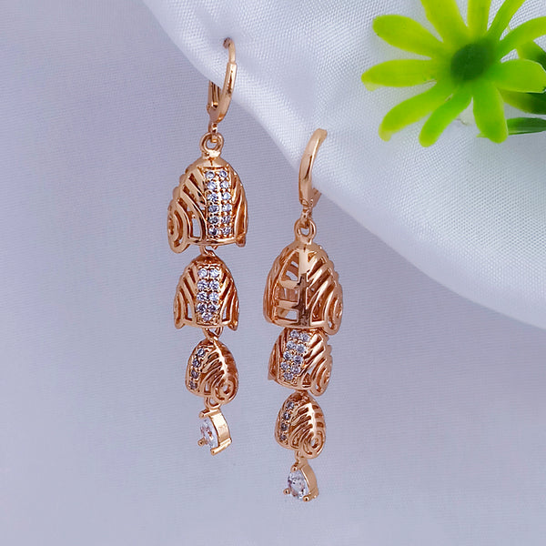 JB Arts Gold Plated AD Stone Jhumki Earrings